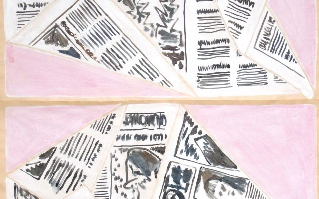 Charlie Hammond Some folded issues, acrylic and gesso on paper. 2019